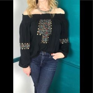 Hollister black off shoulder top with embroidery